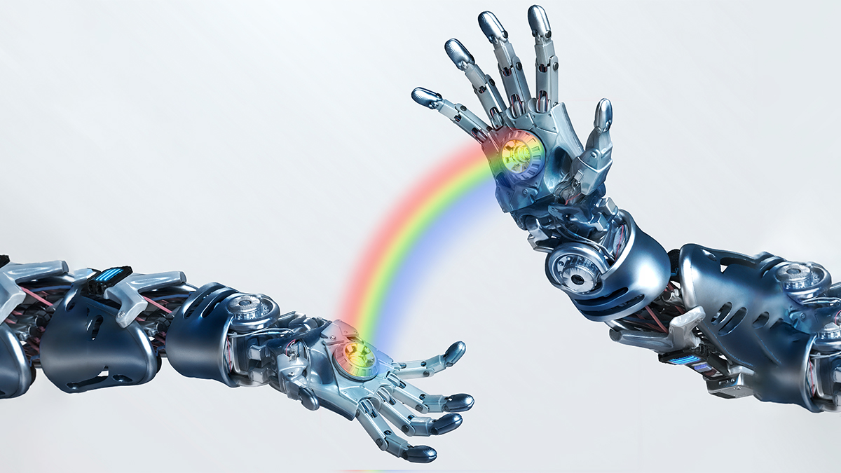 Abstract image showing robot arms